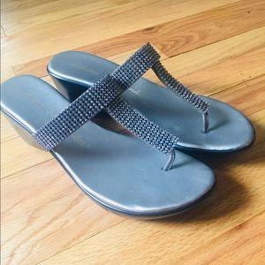 Athena Alexander Silver Rhinestone thong sandal 10